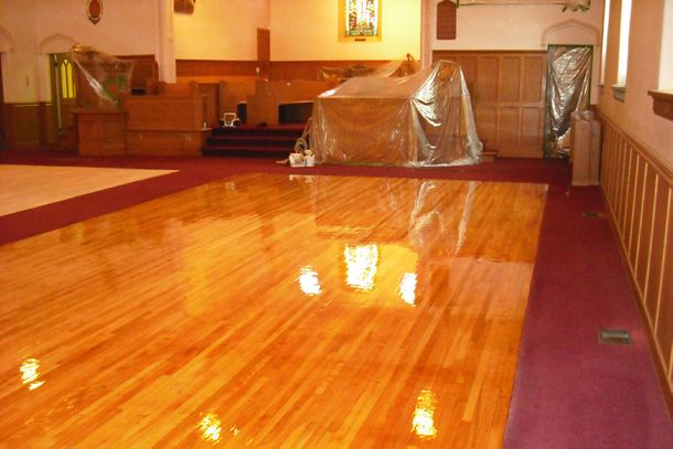 finished wood flooring church